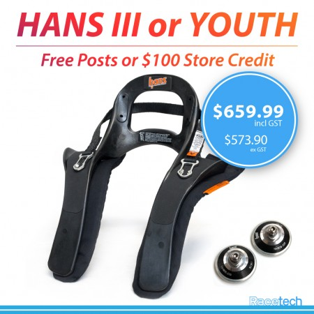 HANS III or Youth Device - 20 Degree with FREE Posts or Store Credit