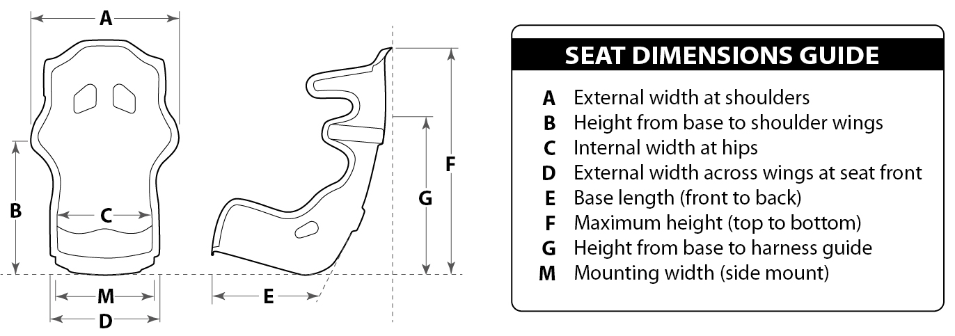 9129 Seat Dimensions Key